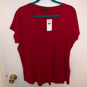 Polo Ralph Lauren Red XL Blue PONY LOGO  VNeck Tee